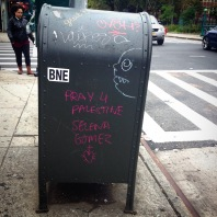 A message to Selena Gomez left on a mailbox in Brooklyn